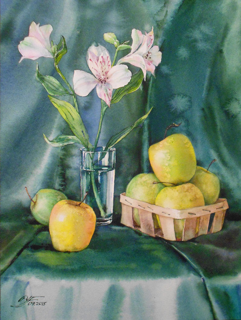 Six apples and a one flower by costumer-95