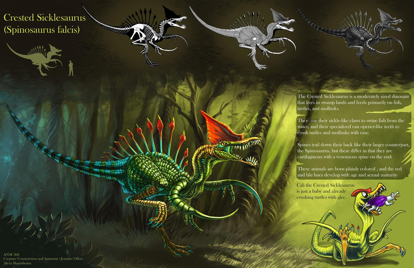 Crested Sicklesaurus Sheet by Tikall