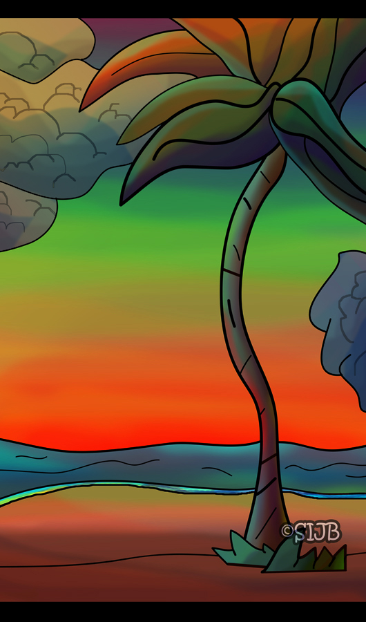 Background: Late Beach by sJibbi