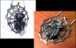 Opal and Garnet Spider Pendant