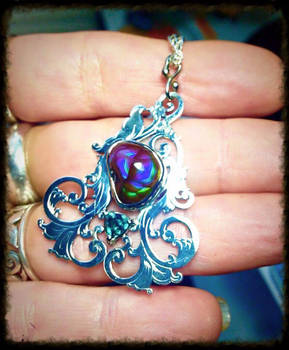Fire Agate and Alexandrite Scrollwork Pendant 1