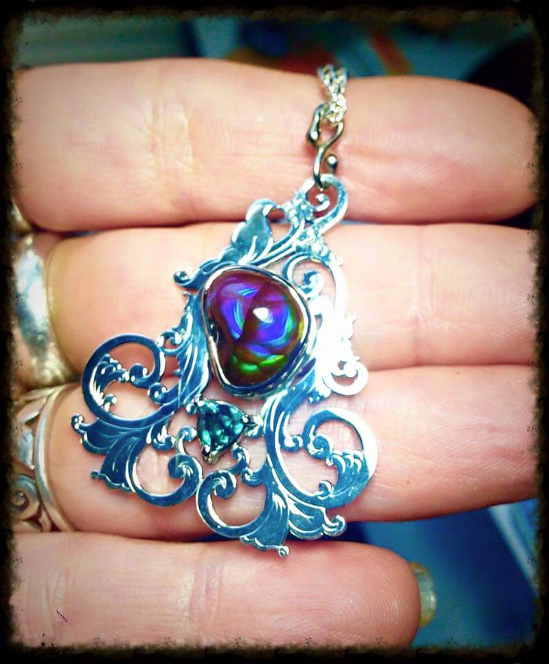 Fire Agate and Alexandrite Scrollwork Pendant 1 by jessa1155