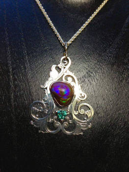 Fire Agate and Alexandrite Scrollwork Pendant 2