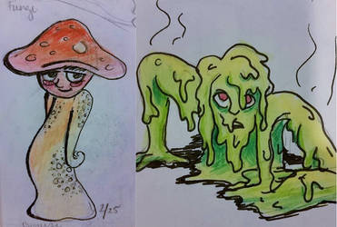 Fungus-child and toxic slime person by invisibleheros