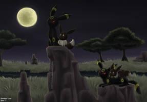 Umbreon and Eevee by sapphireluna