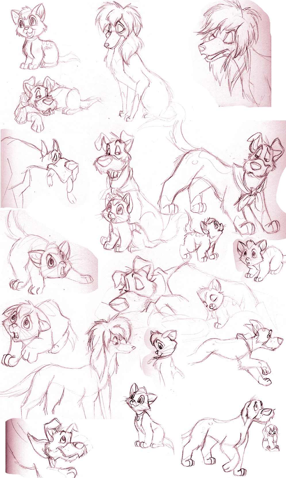 oliver and company sketches by sapphireluna on deviantart