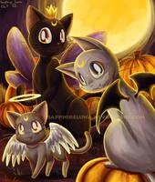 Moon Kitties Halloween by sapphireluna