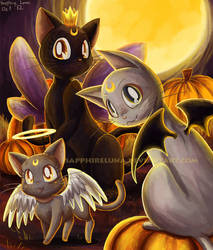 Moon Kitties Halloween by sapphireluna