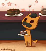 Mr.Cat and cake by sapphireluna