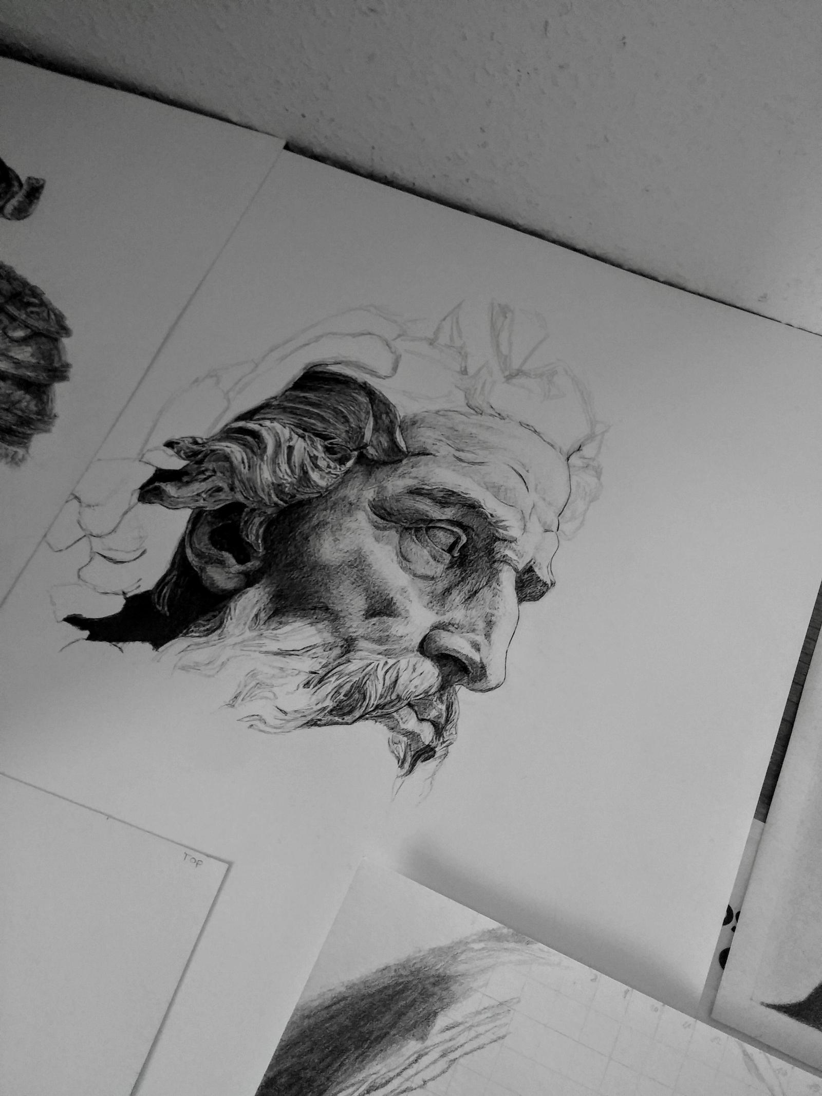 Ballpoint Neptune Statue Sketch by marcandrej on DeviantArt