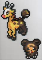 Girafarig and Teddiursa Beads by BlueKecleon15