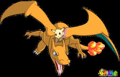 Jedi Pikachu Riding Charizard by Stacona