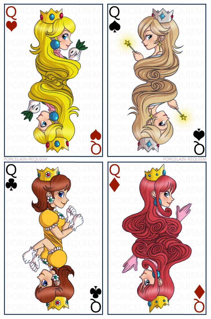 Mario Girls - Queen Cards by Porcelain-Requiem