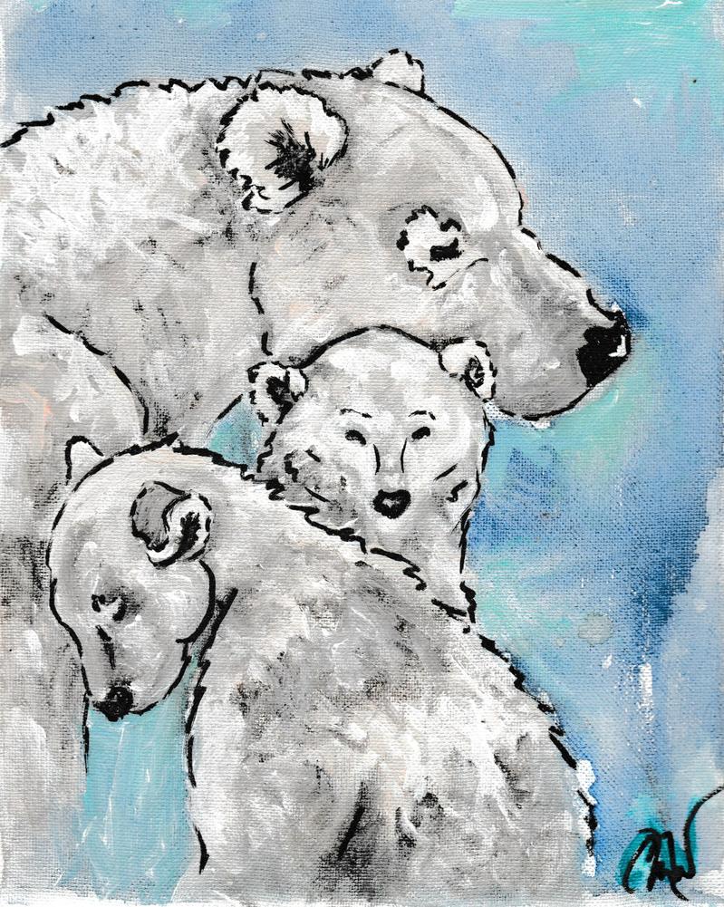 Polar Bear Family by caitiedidd