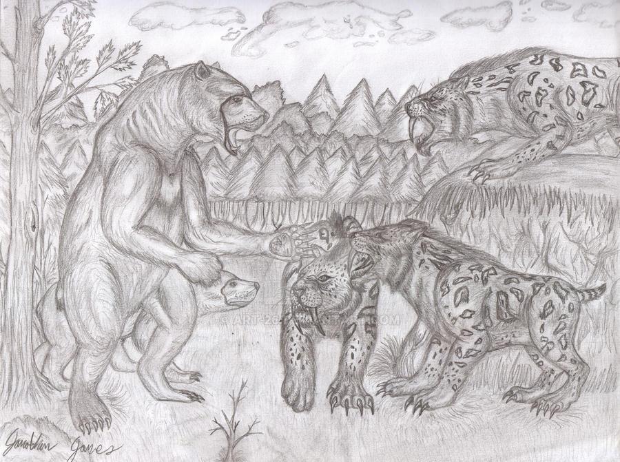 Smilodon Face By Pyroraptor42 On Deviantart: Arctodus Vs. Smilodon By Art-26 On DeviantArt