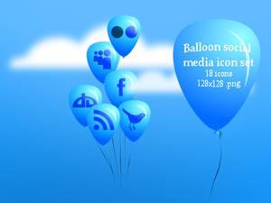 Balloon Social media icon set_