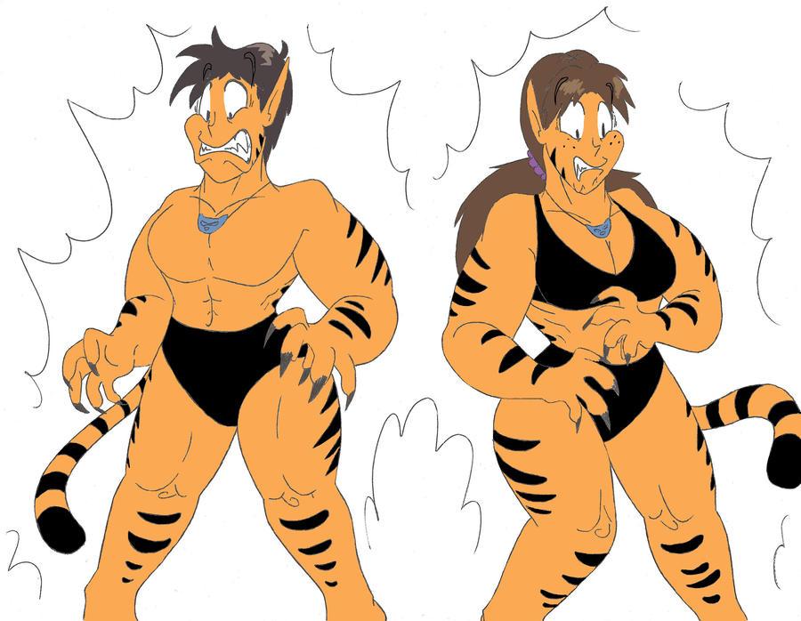 Tigra Shinji and Hikari (Colored) by CatsTuxedo