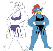 Sumo Toriel and Undyne by CatsTuxedo