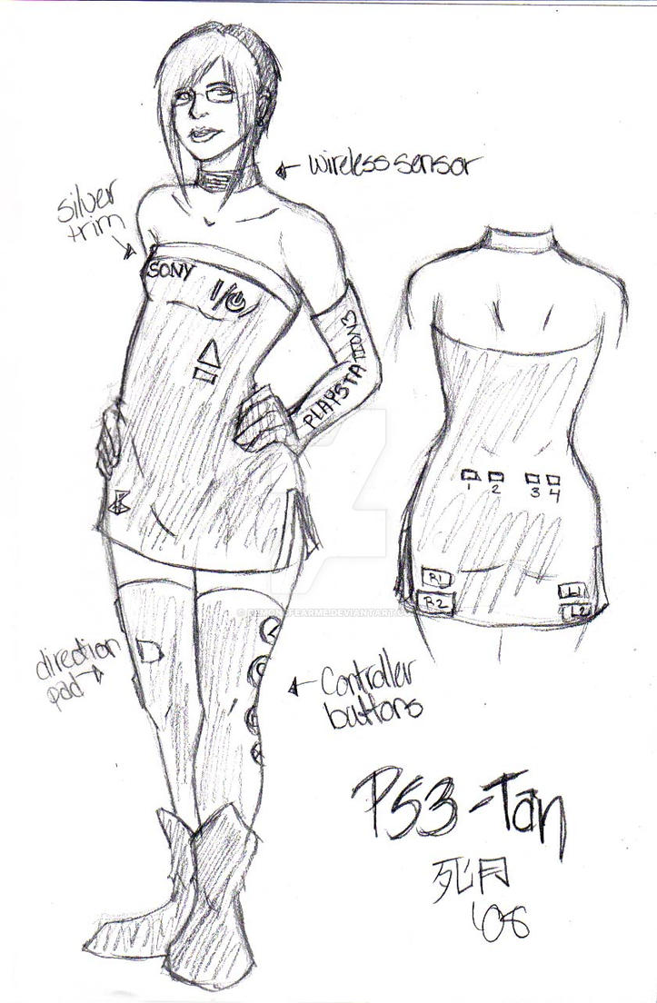 Costume Design - PS3tan by demonsfearme