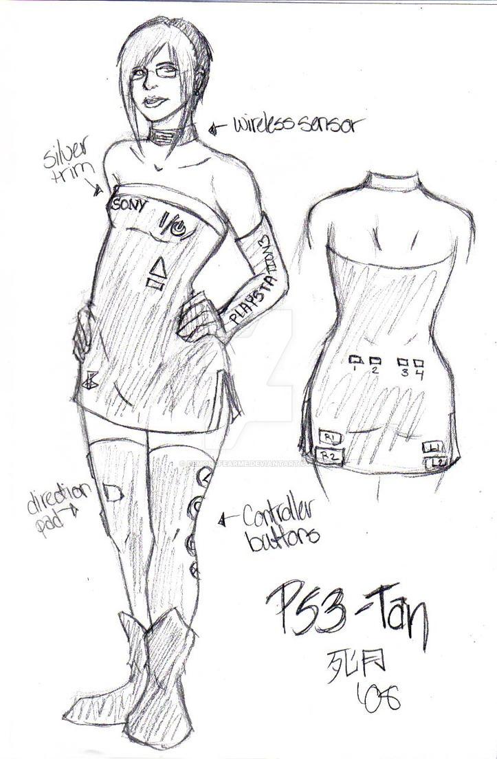 Costume Design - PS3tan by demonsfearme