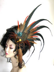 Bird skull and mink tail headpiece.