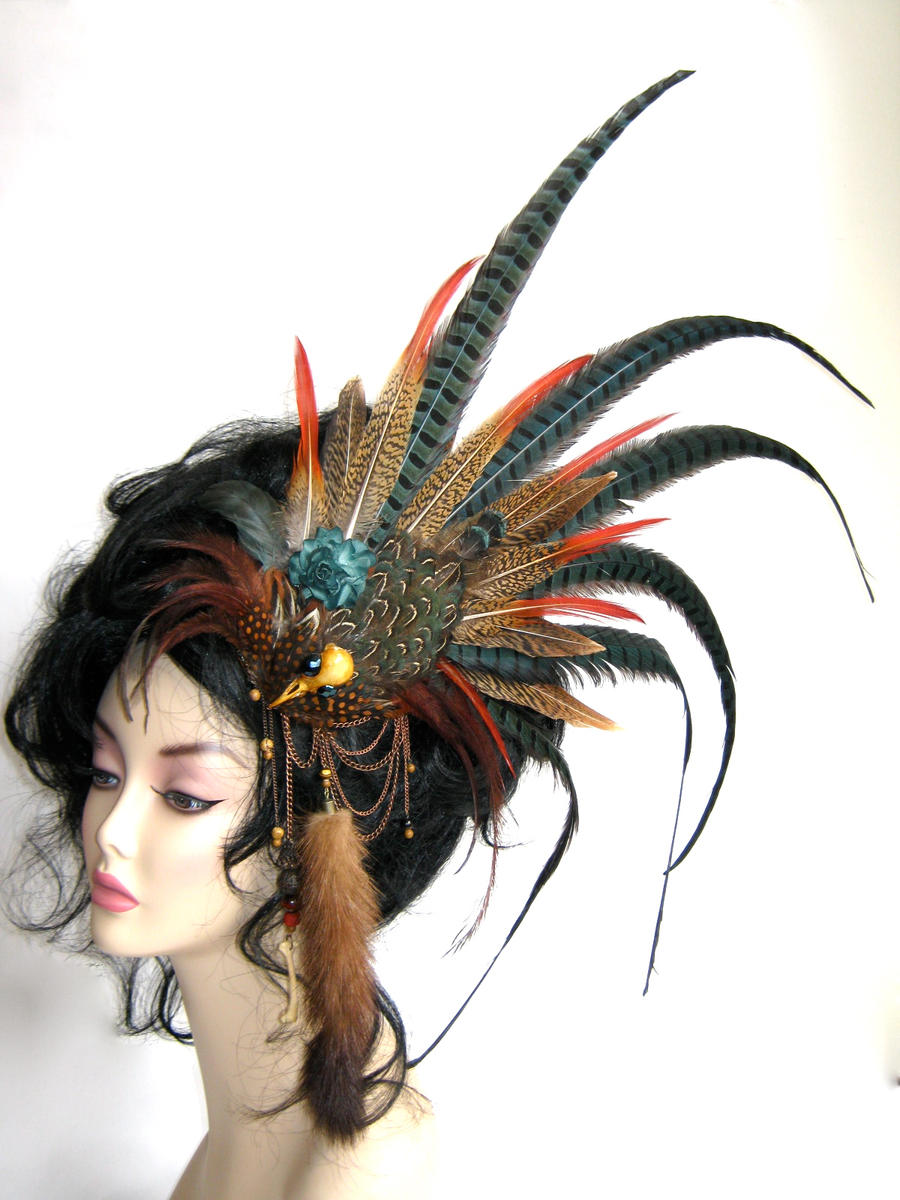 Bird skull and mink tail headpiece. by Genevieve-Amelia
