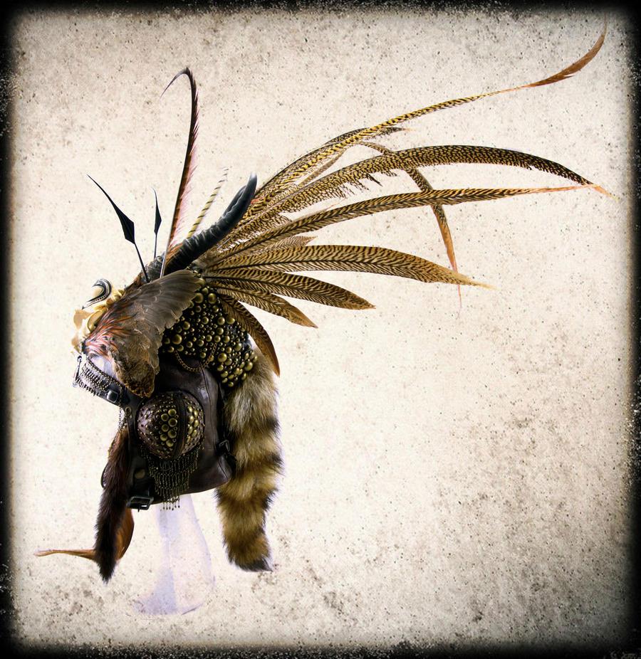 Springbok horns + Raccoon skull headpiece by Genevieve-Amelia