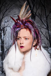 Hand-dyed grizzly and pheasant feather headpiece