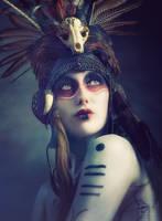 'Anoush' Tribal Portrait -Aviator Helmet headdress