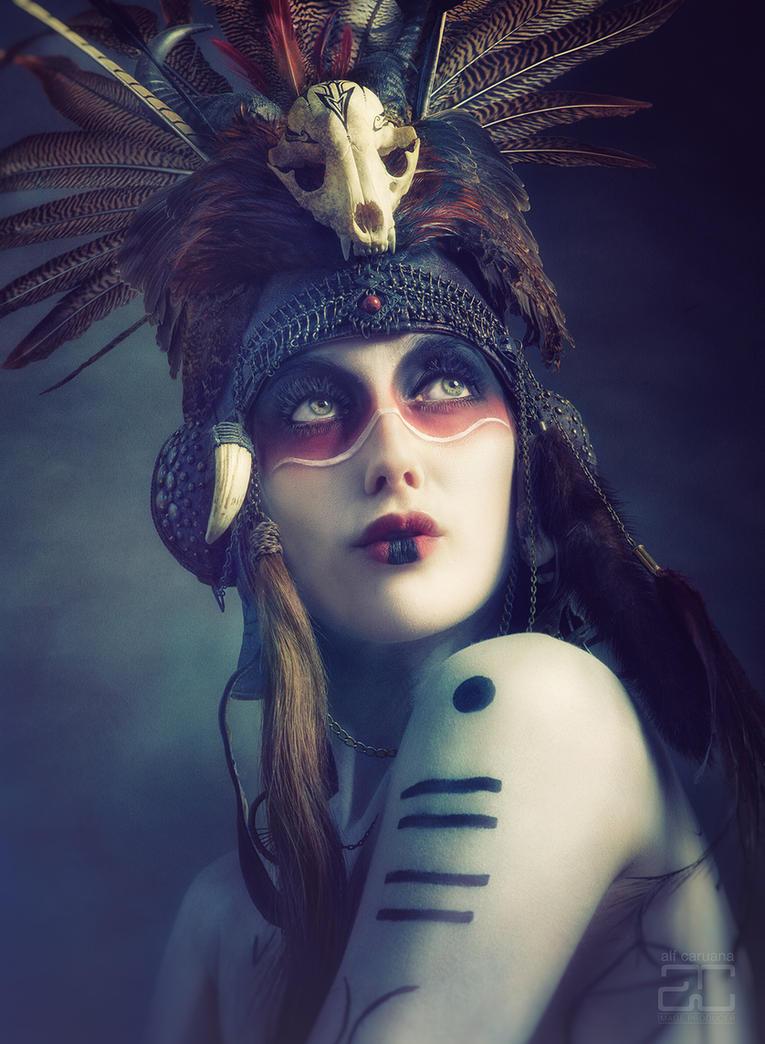 'Anoush' Tribal Portrait -Aviator Helmet headdress by Genevieve-Amelia