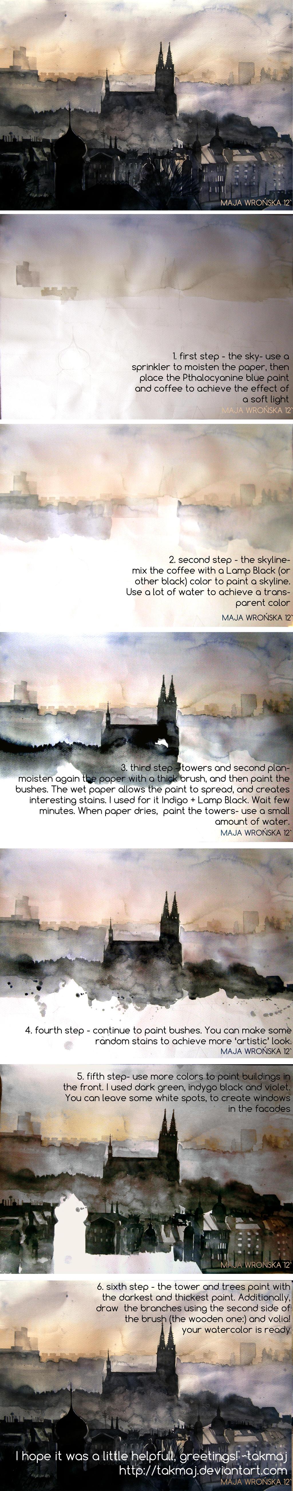 Watercolor tutorial by takmaj on deviantart for Watercolor tutorial