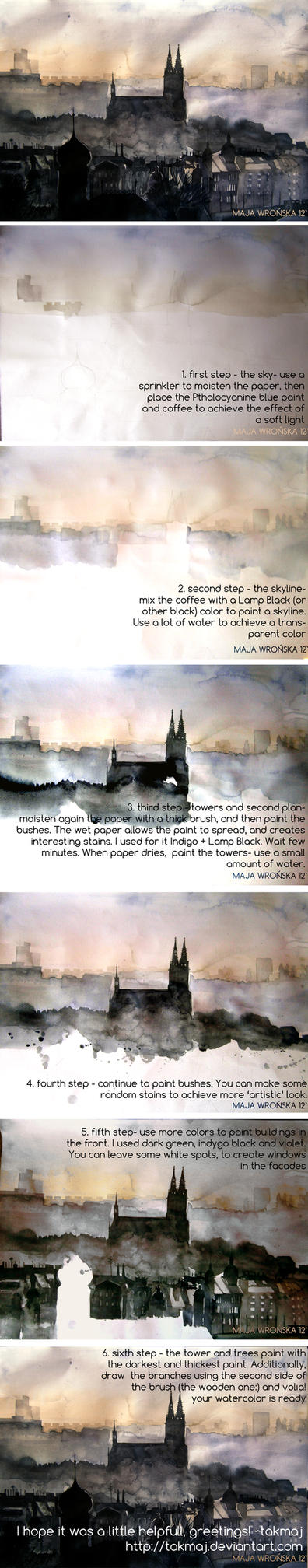 Watercolor tutorial by takmaj