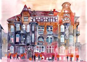 Apartment House in Poznan and orange umbrellas
