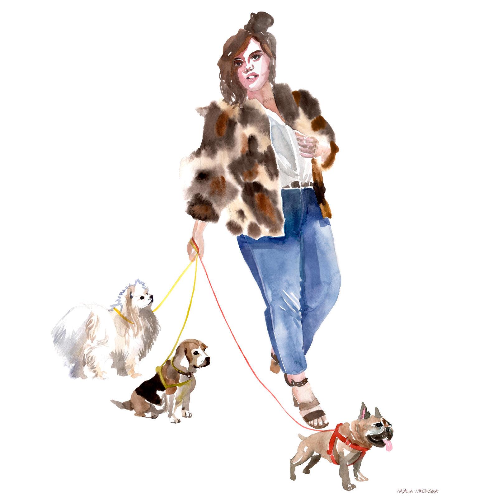 Lady with dogs by takmaj