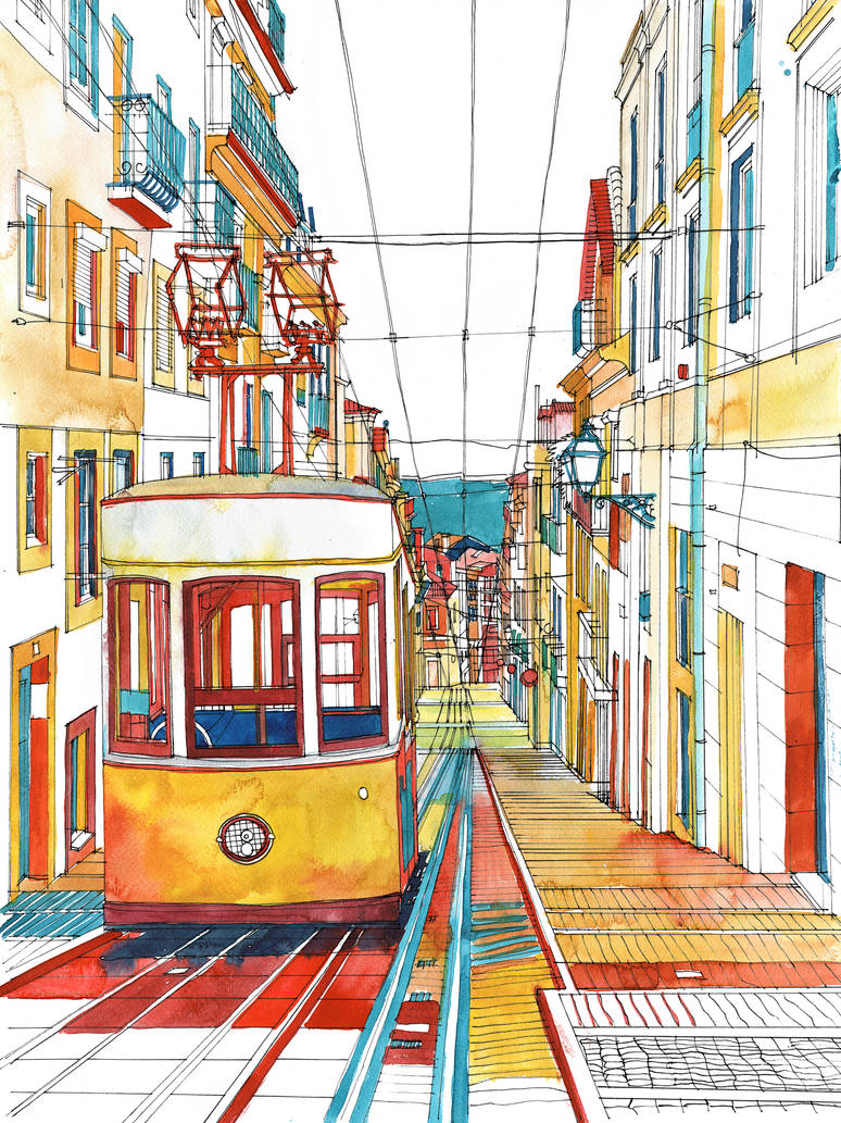 Coloring book Southern Europe Cities: Lisbon color
