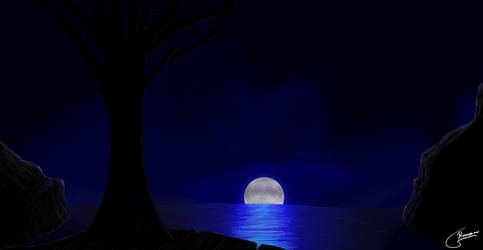 Moon in the Sea by Hokimisu