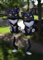 Black Cat Dangle Earrings by Gatobob