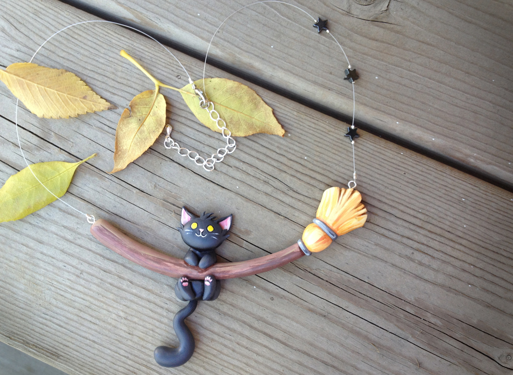 Witch Cat Necklace by Gatobob