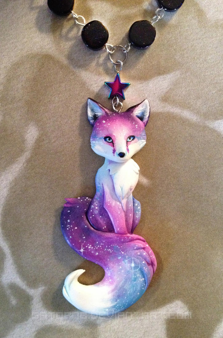 Starry sunset fox necklace by gatobob on deviantart for Cute things to make out of clay