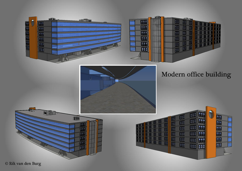 contemporary office building. 3d modeling practise contemporary office building by vdburg