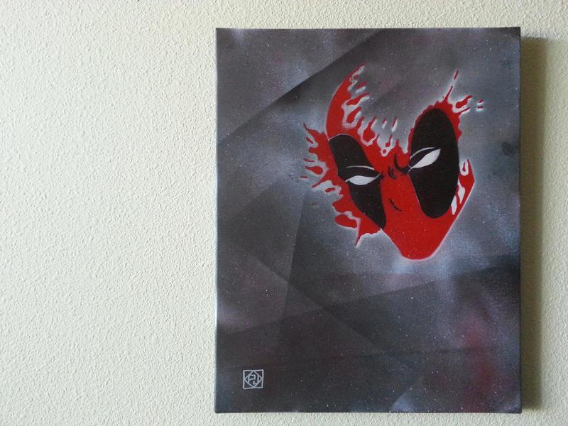 Deadpool Stencil Fanart on Canvas by pjcyto