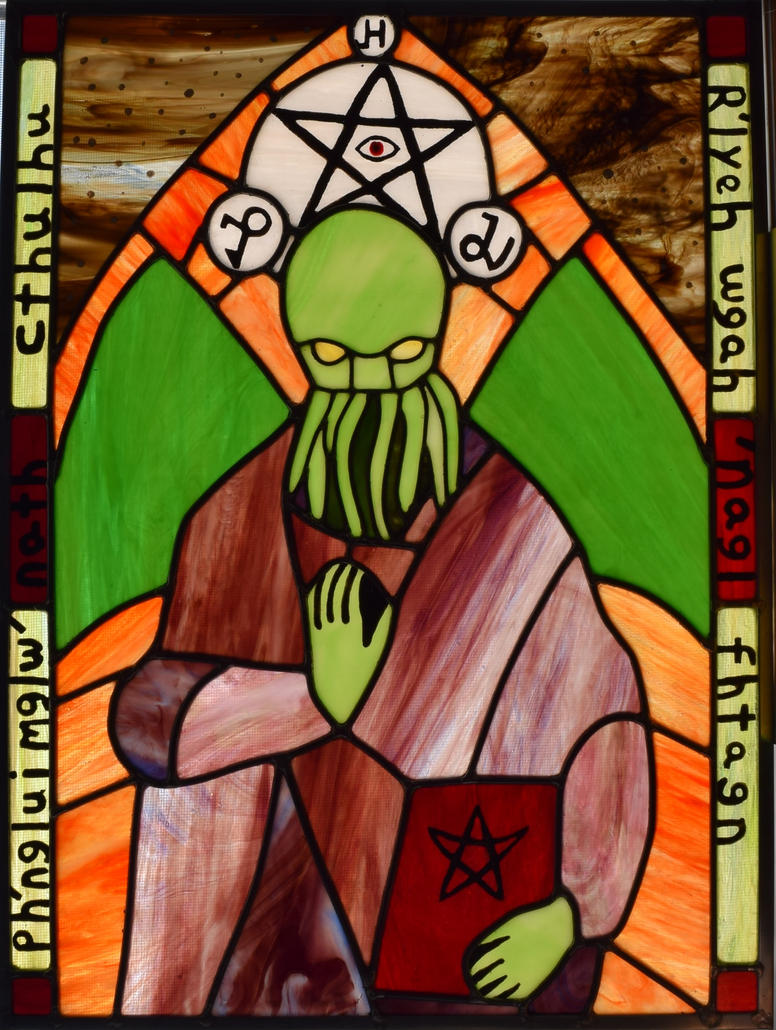 Medieval Cthulhu Leaded Stained Glass Retake by AutobotWonko