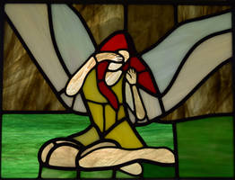 Angel of Flight Alabaster Stained Glass Panel
