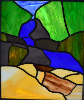 Waterfall Stained Glass Panel