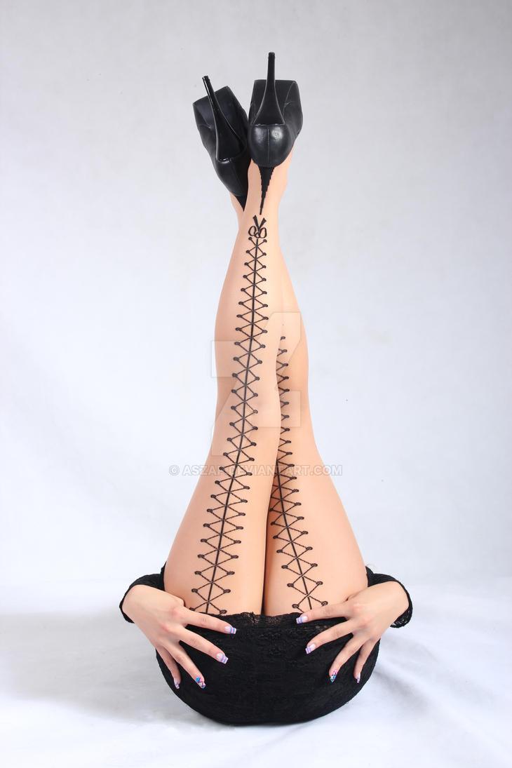 Blond model in amazing stockings  1 by Aszap