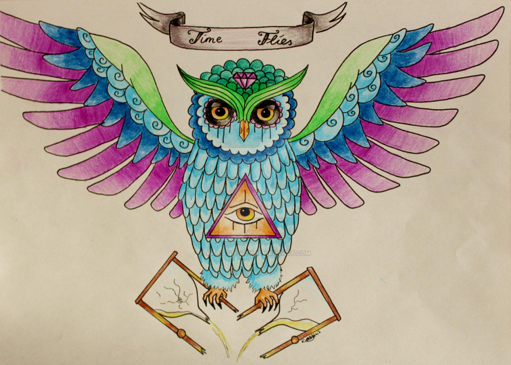 Time Flies - Sugar Skull Owl Tattoo Design by ImJustLesley