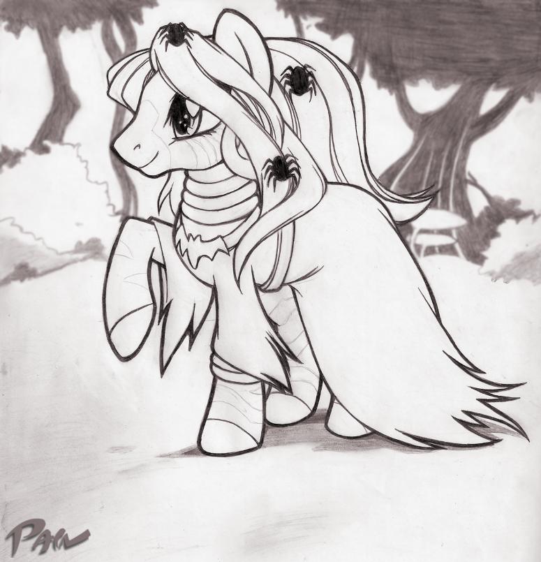 halloween zecora sketch by Pain-hyena