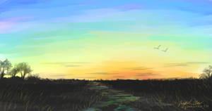 Sunset Digital Watercolor