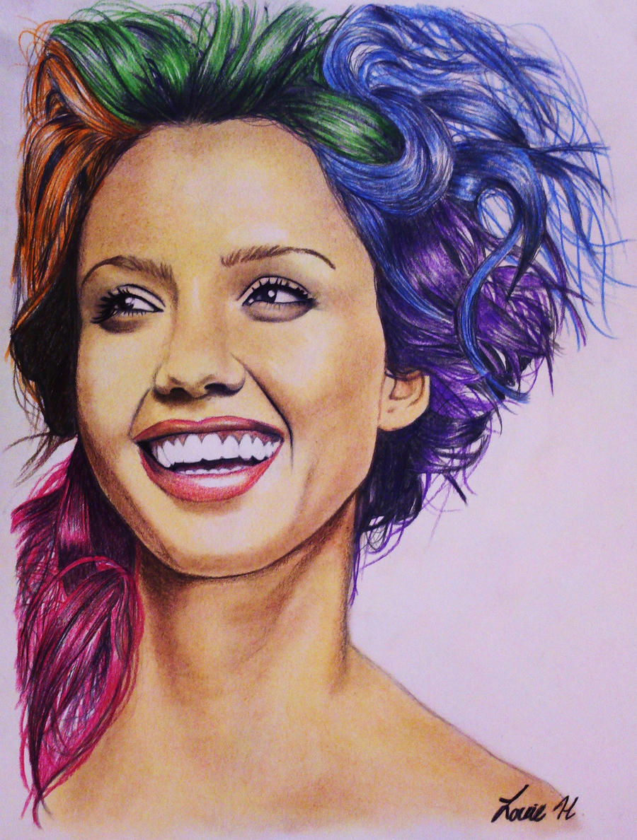 Crazy Hair - Jessica Alba color study by laart39