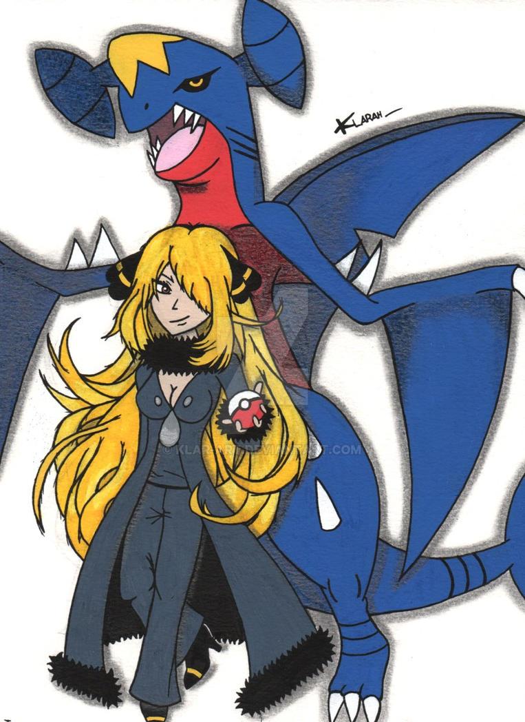 dessin pokemon cynthia et carchacrok by klar art - Pokemon Carchacrok